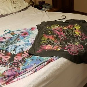 Two XL tee shirts with butterflies short sleeve